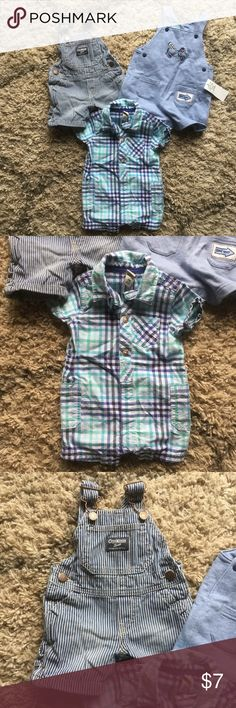 3 pieces, 6 month size One button up collared shorts onesie with snaps at bottom in plaid pattern by Cherokee, gently used.  Striped overall shorts set by Osh Kosh, gently used.  Blue cotton overall short set with fire truck on front by Little Me, new with tag. Bottoms Jumpsuits & Rompers