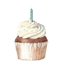 Colored pencil drawing of a cupcake by Sarah Melling.