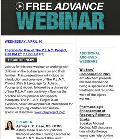 Therapeutic Use of The P.L.A.Y. Project  Presenter: Ashley L. C. Case, MS, OTR/L  Who Should Attend: Practitioners, especially occupational and speech therapists, interested in working with children on the autism spectrum and their families.  Pinned by SOS Inc. Resources http://pinterest.com/sostherapy.