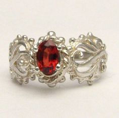 Red Gemstone Spinel Filigree Solid Sterling Silver also in 14kt Gemstone Ring. Custom Sized to fit you.. $45.00, via Etsy.