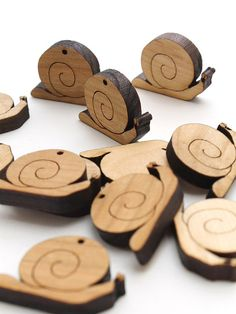 Spring Snails Mini Charms - Itsies - Laser Cut Wood - Free Shipping . Timber Green Woods Sustainable Wood Products