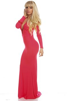 BRIGHT CORAL DEEP V-NECK LONG SLEEVE DRESS GOWN,Sexy Maxi Dresses-Sexi Maxi Dresses,Sexy Long Dresses,Chiffon Maxi Dress,Long Maxi Dresses,Long Sleeve Maxi Dress,White Maxi Dress,Floral Maxi Dresses,Sexy Black Maxi Dress,Mermaid Maxi Dress,Two Piece Maxi Dress,Off The Shoulder Maxi Dress