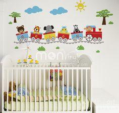 Trein theme. This is a cute idea for baby boy
