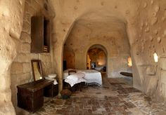Sextantio Le Grotte Della Civita is a unique hotel, Built by Swedish-Italian hotelier Daniele Kihlgre into the caves of Matera, Basilicata in Southern Italy Underground Caves, Cave Hotel, Capadocia, Unique Hotels, Amazing Hotels, Southern Italy, World Photo, Tourist Spots, Project Life