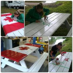 Just in time for Canada day! Painted Picnic Tables, Canada Day Party, Canadian Holidays, All About Canada, Canada House, Happy Canada Day, Canada 150, Camping Games, True North