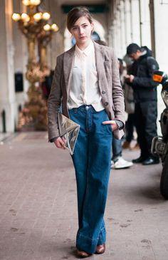 wide legs, sleek clutch & blazer
