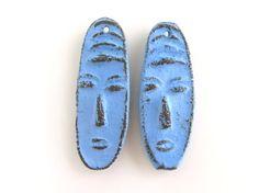 Blau-Face-Perlen  Keramik-Set für Ohrringe Perlen von NadiaTerra