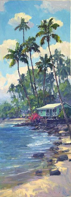"Ronaldo Macedo ""Hawaiian Beach Shack"" size 30X11.  Just sold, Prints may be in the works, to inquire email us at lgi@mau.net see art first at: www.facebook.com/lahainagalleriesFB"