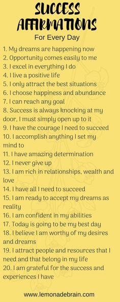 Affirmations for Success - Lemonade Brain