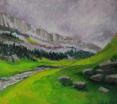 Abstract landscape Ordesa II Original oil por MariaMazaPaintings