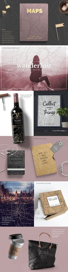 Map Patterns by Youandigraphics on @creativemarket