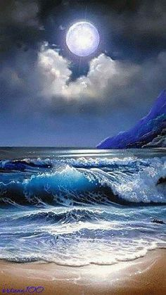 Moonlight and Waves