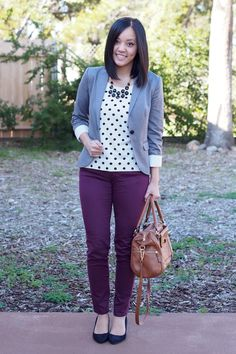 gray blazer / black & white polka dot sweater / purple pants / black flats