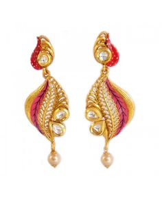 Women's Fashionable Kundan Polki Copper Earrings_Pink1