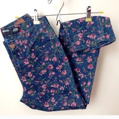 BDG Grazer High Rise Floral Jean High rise, Dark denim with floral print. Fits legs as regular jeans for a petit figure or ankle grazer for taller figure. From urban outfitters. These were one of my favorite pairs of jeans but I have gained some weight that I am otherwise happy about. Follow me if you are a size 24 or 0 or 2 because I will be listing all my favorite well loved clothes that no longer fit me :) BDG Jeans Ankle & Cropped