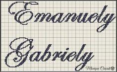 nome ponto cruz emanuelly gabriely Baby Disney, Arabic Calligraphy, Math Equations, Erika, Anchor, Cute Names, Embroidery Alphabet, Monogram Alphabet, Cross Stitch Alphabet