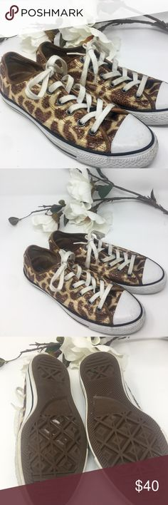 ⚜️Sequin Leopard Converse 9 1/2⚜️ Sequin leopard print Converse⚜️Size 9 1/2⚜️Good used condition⚜️Few minor scuffs and wear on white wall sole⚜️White walls will not be whiten/only wiped down with a wipe Converse Shoes Sneakers