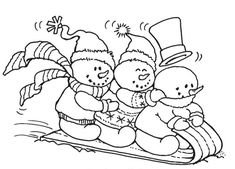 Stampendous - Cling Mounted Rubber Stamp - Snowy Sled-Cling Stamp Size Approx: 2 x 4 Colouring Pages, Coloring Sheets, Coloring Books, Christmas Colors, Christmas Art, Snowman Quilt, Christmas Drawing, Christmas Coloring Pages, Snowman Crafts