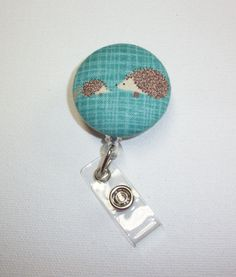 Retractable ID Badge Holder Reel   Fabric Button   by Laa766 chic / cute / preppy / fabric / covered button / clip-on / retractable cord / patterned / co-worker or school gifts / #EtsyGifts