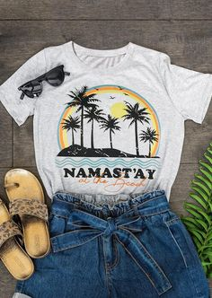 At The Beach O-Neck T-Shirt Tee - Light Grey latest women's clothing, dresses, tops, outerwear and other clothing. enjoy the worldwide shipping , # Beach T Shirts, Home T Shirts, Tee Shirts, Tees, Vacation Shirts, V Neck Tank Top, Neck T Shirt, Arrow T Shirt, T Shirt World