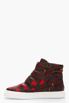 MCQ ALEXANDER MCQUEEN //  Red Tartan High-Top Sneakers  32114M050007  High top textile sneakers in red, black and yellow tartan. Round toe. Padded paneled upper. Velcro closure. White rubber foxing. Tonal stitching. Textile upper, rubber sole. Made in Italy.  $500 CAD