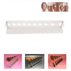 2017 Hot   10 Holes Brush Storange PlaceOrganizer Clear Acrylic 10 Lattices Cosmetic Display Shelf Mar15