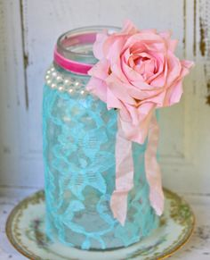 shabby chic lace candle jar