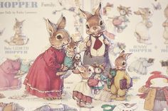 The sweetest paper dolls ever. (By Kathy Lawrence called The Hopper Family) by Wirth, L Vintage Cards, Vintage Postcards, Paper Art, Paper Crafts, Bunny Art, Vintage Paper Dolls, Soft Dolls, Paper Toys, Children's Book Illustration