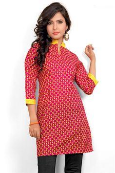 Printed Red, Yellow Cotton Kurti