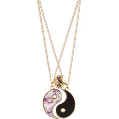 Accessorize 2 x Best Friends Floral Ying Yang Necklaces ($12) ❤ liked on Polyvore featuring jewelry, necklaces, disc pendant, pendant jewelry, disc pendant necklace, disc charm necklace and charm necklace