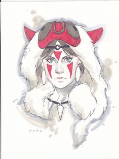 Princess Mononoke by Phil Noto  //LOVE THE.. ROUGH-NESS OF THIS ONE! SUIT THE MOVIE