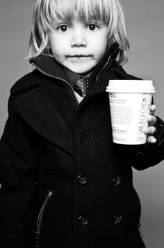 Adorable. I fear that this will be my child someday....peacoat with collar popped, check.  Stylish tie, check. Starbucks, check.  (apple cider or hot chocolate in the cup BTW)