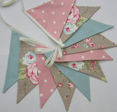 Fabric Bunting Taupe duck egg blue Pennant Flag Banner