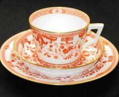 ANTIQUE MINTON RUST ORANGE TEA CUP AND SAUCER TRIO PLATE  325.00