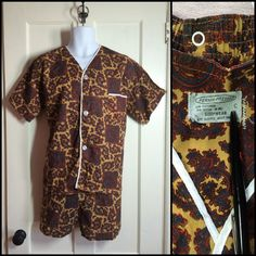 1960's summer pajamas set with heart shaped paisley.