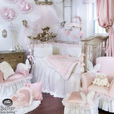 victorian pink nursery | ... -Baby-Girl-Princess-Chic-Victorian-Crib-Nursery-Bed-Quilt-Bedding-Set