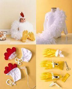 DIY Adorable Chicken Halloween Costume tutorial from Martha Stewart More #halloweencostumekids