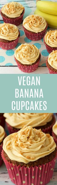 Moist and spongey vegan banana cupcakes topped with peanut butter frosting. These easy to make cupcakes are light, fluffy and smell wonderful while baking! | lovingitvegan.com