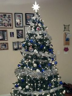 A blue and silver Christmas tree from Good Housekeeping reader and Facebook fan Shanna O. #ChristmasTrees