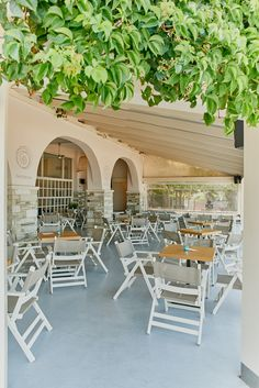Hotel Kelly is one of the oldest summer hotels in the seaside village of Agios Ionannis at the East side of Mountain Pelion. Seaside Village, Outdoor Furniture Sets, Outdoor Decor, Interior Architecture, It Is Finished, Lava, Home Decor, Architecture Interior Design, Decoration Home