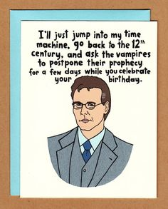 Giles birthday card buffy the vampire slayer by BettyTurbo. $4.00, via Etsy.