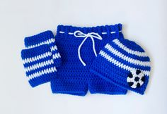 CHELSEA SOCCER Baby Outfit Crochet Beanie Hat, Royal Blue Soccer Baby, CFC Football Baby, Soccer Brazil Baby, Knit Soccer Baby Leg Warmers by Grandmabilt on Etsy