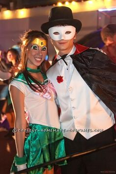 Coolest Sailor Jupiter and Tuxedo Mask Couple Costume... This website is the Pinterest of costumes