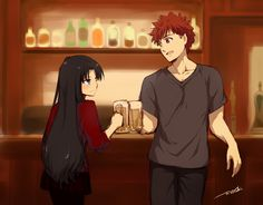 Shirin shirou x rin archer x rin fate stay night Anime Couples Manga, Cute Anime Couples, Anime Manga, Fate Stay Night Rin, Fate Stay Night Series, Fate Assassin, Fate Archer, One Direction Art, Fate/stay Night