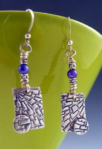 Unique metal clay and bead earrings by Donna Whiteside.