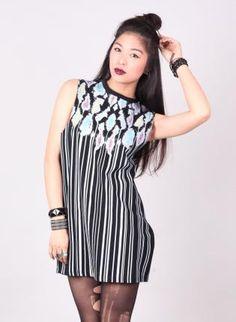 Black & Metallic Print Dress #partydress