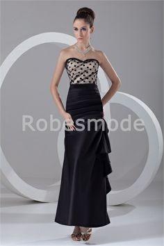 8bd0a1ebe7600 Robe de soirée noire ornée de plis et de volant longueur à cheville Robe  Soirée Noire