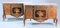 Louis VX - early 20th century, marble tops, bronze details, extensive inlay