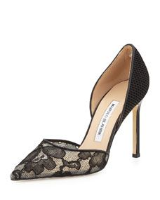 Manolo Blahnik Tayler Lace & Fishnet dOrsay Pump, Black
