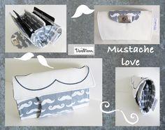 """modische Leder - Baumwoll - Börse """"Mustache Love"""" (Reserviert für Anke)"""